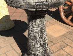 Stacked Stone Birdbath Grey