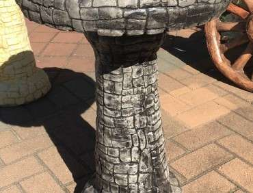 Stacked Stone Birdbath Grey